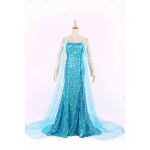 Deluxe Frozen Princess Elsa Dress Cosplay Costume