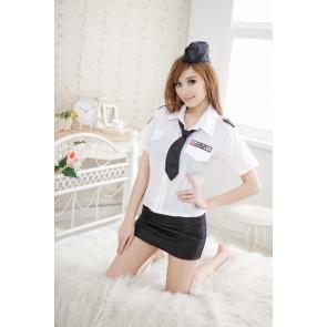 Elegant Turndown Collar Two-piece Adult Flight Attendant Uniform