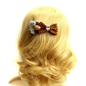 Elegant Leopard Bow Women Lolita Hairpin
