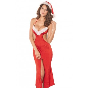 Enticing Polyester Backless Lady Christmas Dress