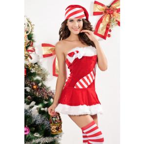 Enticing Velvet Strapless Stripe Lady Christmas Dress