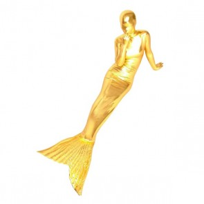 Gold Full Body Shiny Metallic Mermaid Zentai Suit