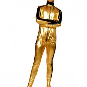 Golden And Black Full Body Shiny Metallic Unisex Zentai Suit