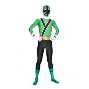 Green And Black Lycra Spandex Unisex Superhero Zentai Suit