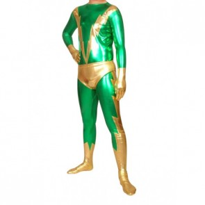 Green And Gold Full Body Shiny Metallic Unisex Zentai Suit