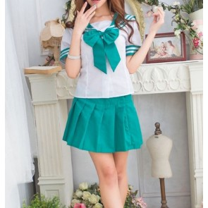 Green Cute Short Sleeves Girl School Uniform Cosplay Costume