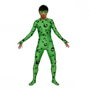 Green Irregular Question Mark Lycra Spandex Zentai Suit