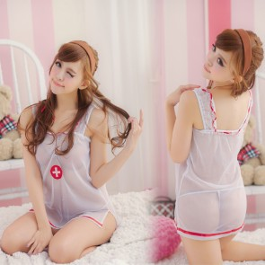 Hot and Cute Sleeveless Strap Naughty Nurse Costume