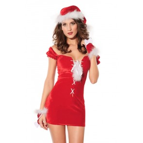 Hot and Skinny Velvet Lady Christmas Dress