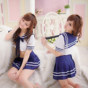 Hot Blue Short Sleeves Bow Girl School Uniform