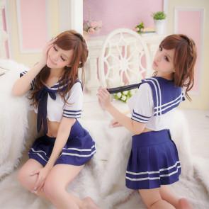Hot Blue Short Sleeves Bow Girl School Uniform