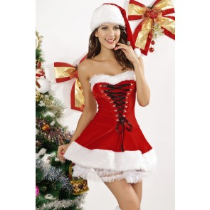 Hot Santa Strapless Women Christmas Dress