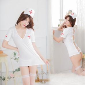 Hot Short Sleeves Cross red Nurse Costume