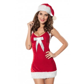 Hot Velvet Backless Bow Girls Christmas Dress