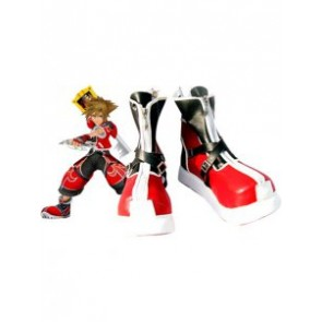 Black and Red Kingdom Hearts II Sora Imitation Leather Cosplay Shoes