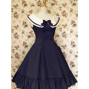 Dark Blue Sleeveless Ruffle Bow Double Breasted Classic Lolita Dress