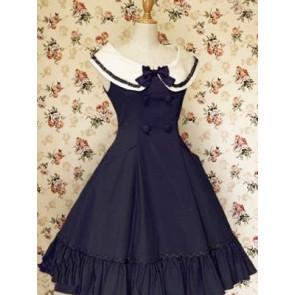 Dark Blue Sleeveless Ruffle Bow Double Breasted Classic Lolita Dress