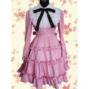 Pink Long Sleeves Classic Lace Bow Classic Lolita Dress