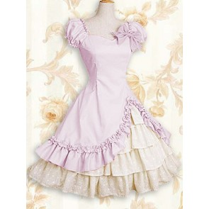 Pink Short Sleeves Ruffle Bow Classic Lolita Dress