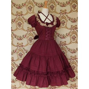 Red Puff Short Sleeves Round Neckline Ruffle Lace Classic Lolita Dress
