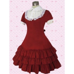 Red and White Short Sleeves Ruffles Classic Lolita Dress