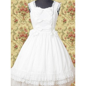 White Sleeveless Lace Bow Classic Lolita Dress