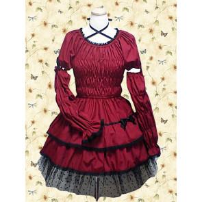 Dark Red Long Sleeves Bow Ruffles Classic Lolita Dress