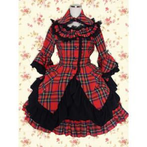 Black Red Check Long Sleeves Classic School Lolita Dress