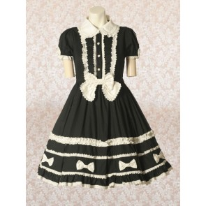 Black Short Sleeves Bow Classic Lolita Dress