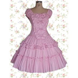 Fuchsia Dark Pink Purple Short Sleeves Ruffles Classic Bow Sweet Lolita Dress