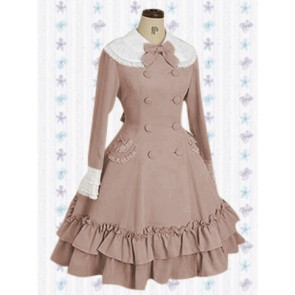Khaki Sleevs Classic Double Breasted Bow Lolita Dress