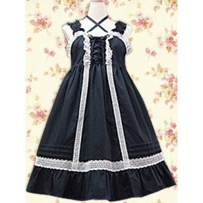 Black and White Sleeveless Classic Lolita Dress