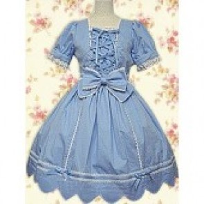 Blue Short Sleeves Lace Bow Front Ties Classic Lolita Dress