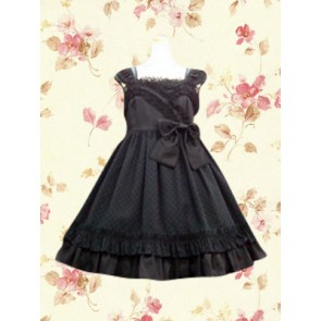 Black Sleeveless Lace Bow Classic Lolita Dress