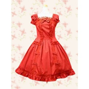 Red Puff Short Sleeves Ruffles Bow Sweet Classic Lolita Dress