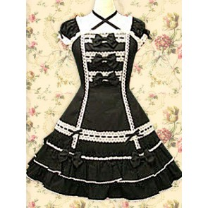 Black Puff Short Sleeves Bows Classic Lolita Dress
