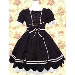 Black Short Sleeves Front Ties Classic Lolita Dress