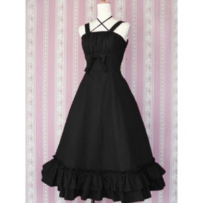 Black Sleeveless Classic Ruffles Lolita Dress