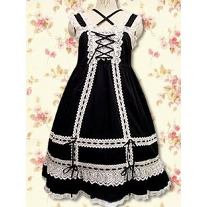 Black Sleeveless White Lace Classic Lolita Dress