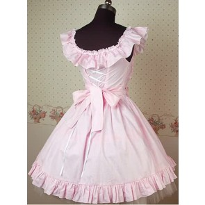 Pink and White Sleeveless Frills Lolita Dress