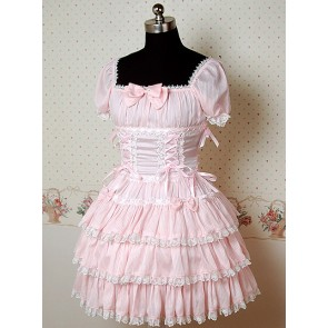 Pink Puff Short Sleeves Bow Cake Lolita Dress