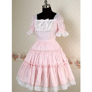 Pink and white Short Puff Sleeves Square Collar Bow Lolita Dress
