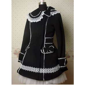 Black and White Long Sleeves Lace Bow Lolita Coat