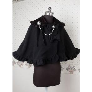 Cashmere Black Ruffle Bow Lolita Cape