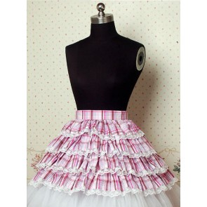 Light Purple Check Pattern Cake Lolita Skirt