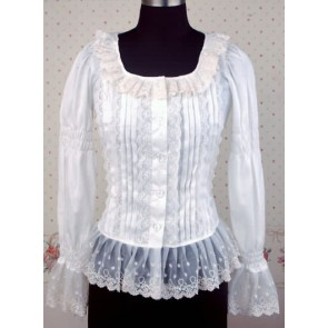 White Long Sleeves Lace Lolita Shirt