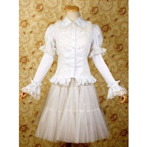 White Long Sleeves Shirt and Chiffon Lolita Skirt