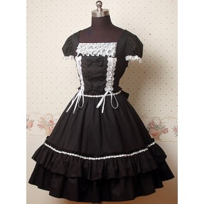 Black and White Puff Sleeves Bow Lolita Dress