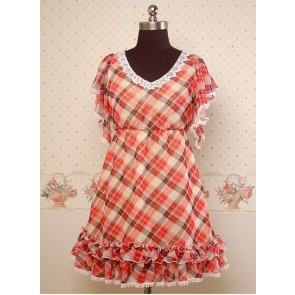 Chiffon Red and Black Check Pattern Lotus Leaf Sleeves Empire-waist Lolita Dress