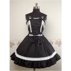 Black and White Sleeveless Lace Bow Lolita Dress